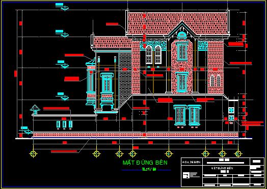 Bản vẽ nhà 3 tầng kích thước 6.5x22.9m