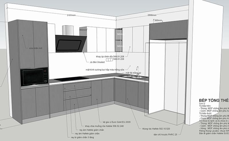 Bản vẽ thiết kế tủ bếp tổng thể - hình 27